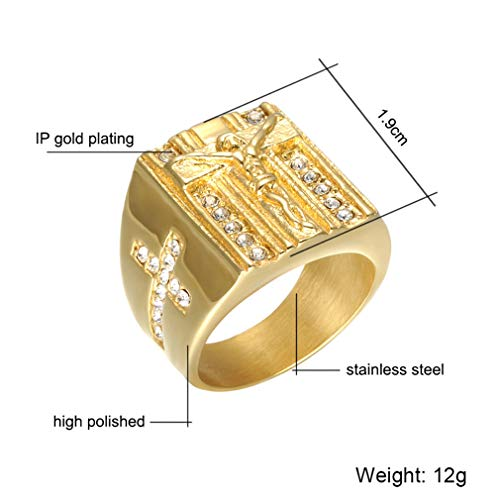 - Faithre Ring Iced Out Crystal Titanium Stainless Steel Ring for Men Prayer Jewelry Gold 11