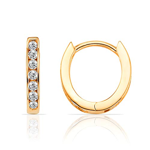 (14K Yellow Gold Oval Hoop Huggie Earring With CZ Stones)