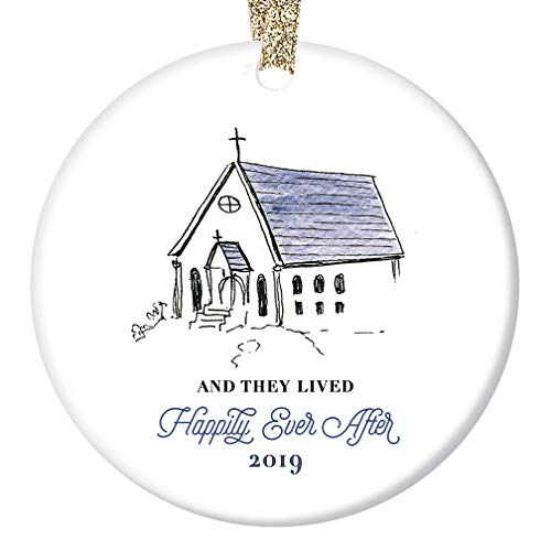 Chapel Ornament - Newlyweds 2019 Christmas Ornament Bride Groom Pretty Chapel Happily Ever After Bridal Shower Wedding Present Ceramic Holiday Keepsake 3