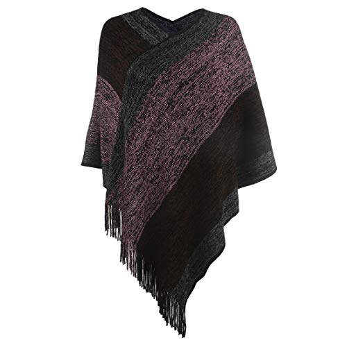 - Women's Elegant Knitted Shawl Poncho with Fringed V-Neck Striped Sweater Pullover Cape Gifts for Women Mom