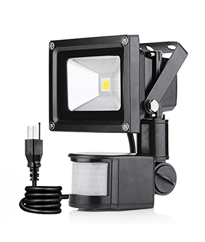 LED Motion Flood Lights 10W Outdoor motion sensor Floodlight Wall Mount PIR Sensitive Security Lights with US 3-Plug,IP65 Waterproof,Cool White