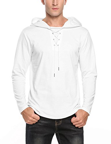 COOFANDY Mens Fashion Lace-up V Neck Hip Hop Long Sleeve Pullover Hoodie Sweatshirt,White,Large by COOFANDY