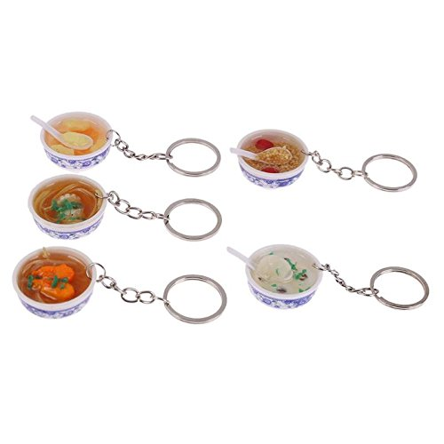 GreenSun TM 5pcs Food Plastic Bowl Kitchen Toys Mini Bag Pendant Simulation Food Key Chains Noodle Rice Creative Children's Teaching Toys