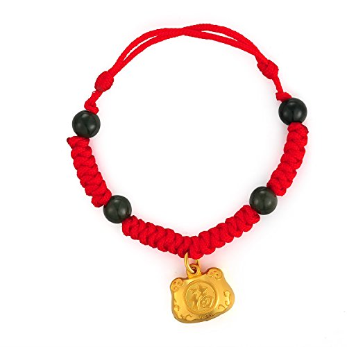 MaBelle 24K Gold Good Luck Charm Red Chinese Knotting Bracelet, Gift For Newborn Baby Boys Girls by MaBelle
