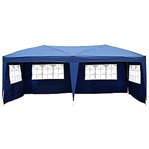 Outsunny Carpa Pabellon 6×3 Metros Plegable 4 Paneles Ventanas Poliester Azul Resistente de Agua