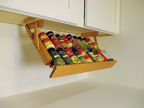 (Ultimate Kitchen Storage Under Cabinet Spice Rack, Handmade Hardwood, Holds 16 Large or 32 Small Spice Containers)