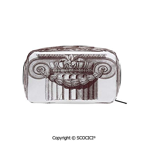Rectangle Portable makeup organizer Cosmetic Bags Classical Antique Column Roman Empire Architecture Heritage Culture Print Printed Storage Bags for Women ()