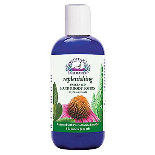 Montana Emu Ranch Replenishing Hand and Body Lotion Unsented 8oz (8 Ounce Emu Lotion)