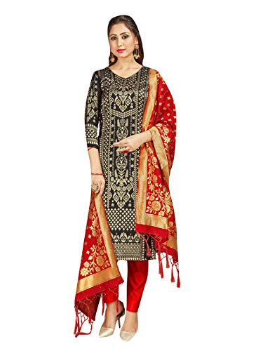 Indian Pakistani Women's Readymade Salwar Kameez Banarasi Art Silk Woven Dress Silk Dupatta Stitched Suit