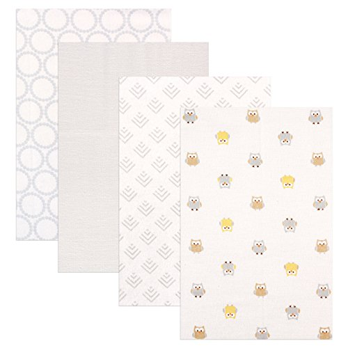 Luvable Friends 4 Piece Flannel Receiving Blankets, Owls