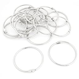 Uxcell Metal Book Loose Leaf Binder Rings Keychain, 2.2-Inch OD, 20 Pieces