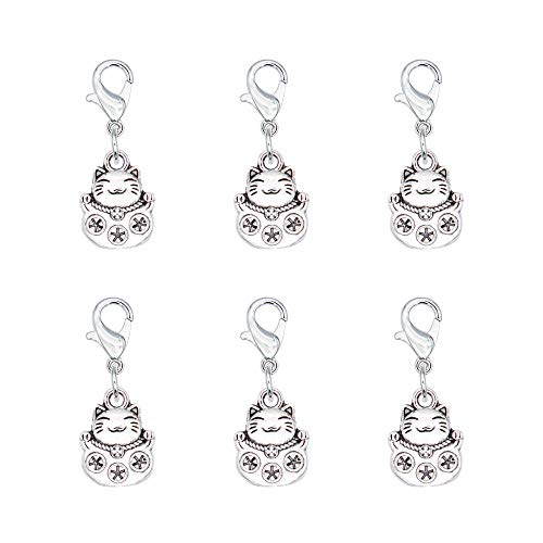 (Ascrafter Plutus Cat Zipper Pull Charms, Set of 6 Lucky Cat Stitch Markers for Knitting, Crochet Markers, Pet Purse Charms, Jewelry Charm Pendant)
