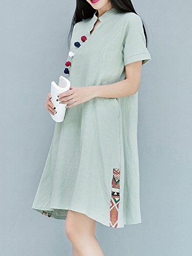 Femmes Vintage Coton Patchwork Impression Grenouille Chinois Lin Bleu Marine Robe