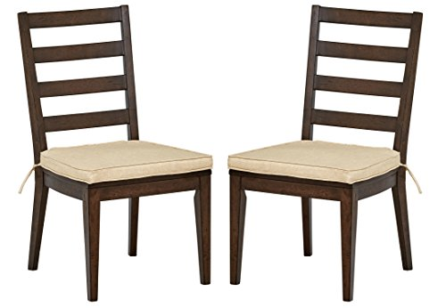 Stone Beam Dunbar Modern Dining Room Set of 2 Ladderback Side Kitchen Chairs, 38 Inch Height, Oak Wood