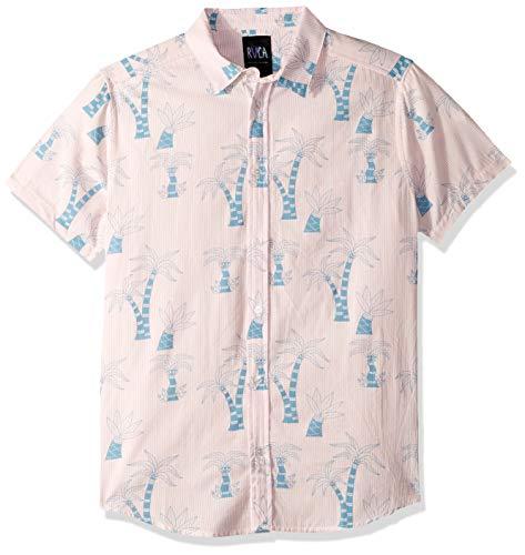 RVCA Men's LIU Wong Palms Short Sleeve Woven Button Front Shirt, Acid Pink, ()