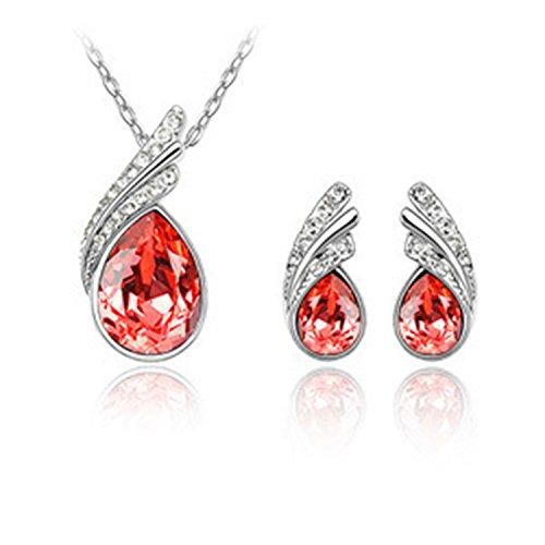 Rhapsody Crystal Pendant - Shiny girl Ocean Rhapsody Stud Earrings Pendant Necklace Jewelry Set Made with Blue SWAROVSKI Crystal-Red