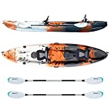 Driftsun Teton 120 Hard Shell Recreational Tandem Kayak, 2 or 3 Person Sit On Top Kayak Package with 2 EVA Padded Seats, Includes 2 Aluminum Paddles and Fishing Rod Holder Mounts