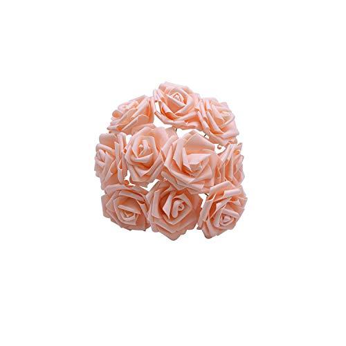 25 Heads 8CM New Colorful Artificial Foam Rose Flowers Bride Bouquet Home Wedding Decor Scrapbooking DIY Supplies,Rose Pink ()