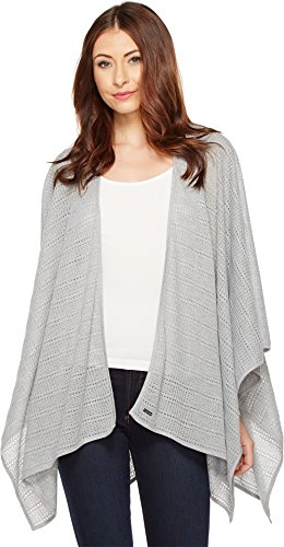 Boho-Chic Vacation & Fall Looks - Standard & Plus Size Styless - Calvin Klein Women's Pointelle Ruana, Heathered Mid Grey, One Size