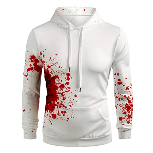 (KLFGJ Halloween Pullover Women and Men Sweatshirts Blood Pressure Long Sleeve Hoodie Sports Streetwear)