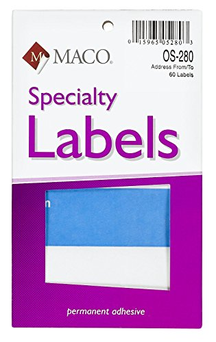 MACO From/To Mailing Labels, 3 x 4 Inches, 60 Per Box, Blue and White (Package Address Labels)
