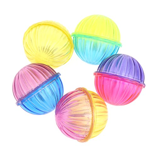 Oranmay 5 Pcs Cat Toy Bell Hollow Ball Sound Pet Game Kitten Plastic Interactive Rattle (Hollow Bell)
