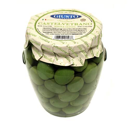 Giusto Sapore Italian Olives - Castelvetrano Whole - Premium Gourmet GMO Free - Imported from Italy and Family Owned - 19.4oz.
