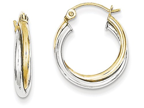 - Finejewelers 10k Yellow and White Gold Twist Hoop Earrings