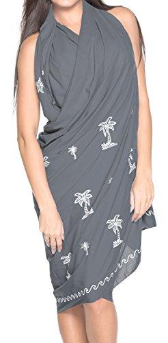 LA LEELA rayon viscosa blu navy palmo sarong albero confine avvolgere 88x39 pollici Grigio_u332
