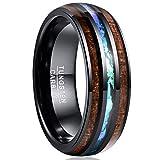 VAKKI Mens 8mm Hawaii Koa Wood Tungsten Rings Domed Imitated Opal Wedding Bands Size 8.5