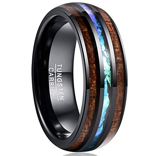 VAKKI Men's Domed Hawaii Wood Engagement Bands 8mm Imitated Opal Tungsten Promise Ring Size 12.5 ()