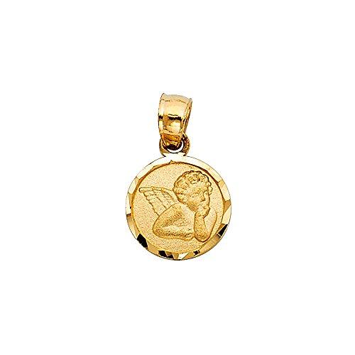 (14k Yellow Gold Guardian Angel Medallion Pendant Cherub Catholic Baby Charm)