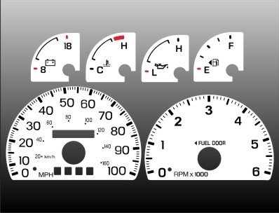 1997-1998 Ford F150 Expedition White Face Gauges