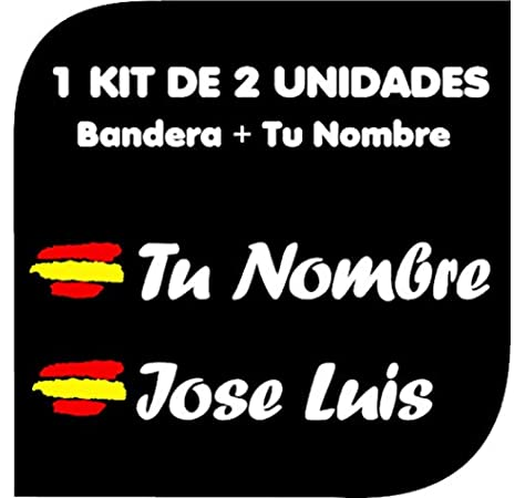 Vinilin Pegatina Vinilo Bandera España + tu Nombre - Bici, Casco, Pala De Padel, Monopatin, Coche, Moto, etc. Kit de Dos Vinilos (Negro): Amazon.es: Deportes y aire libre