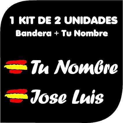 Pegatina Vinilo Bandera España + tu Nombre - Bici, Casco, Pala De Padel, Monopatín, Coche, Moto, etc. Kit de Dos Vinilos (Blanco)