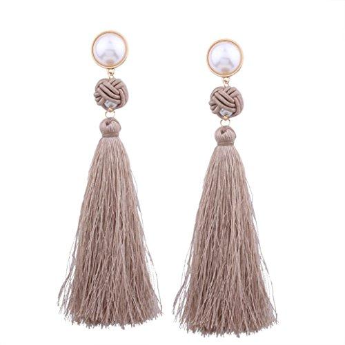 Brown Pearl Imitation (Womens Earrings,Elegant Imitation Pearls Dangle Earrings Long Tassel Drop Earrings Axchongery (Coffee, As The Picture Shown))