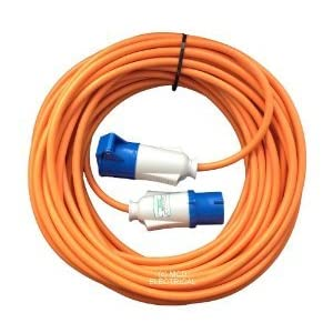 25 metre Orange Caravan Hook Up/Extension Cable with 16 Amp Plug & Socket – Professionally assembled by MCD Electrical