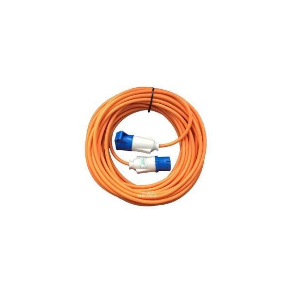 15 metre Orange Caravan Hook Up / Extension Cable with 16 Amp Plug & Socket – Professionally assembled by MCD Electrical