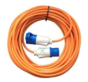 25 metre Orange Caravan Hook Up Extension Cable with 16 Amp Plug /& Socket Professionally assembled by MCD Electrical