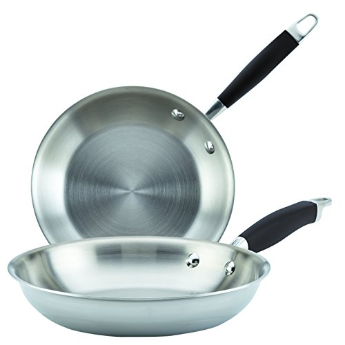 (Anolon Tri-Ply Onyx Stainless Steel French Skillet, Twin Pack)