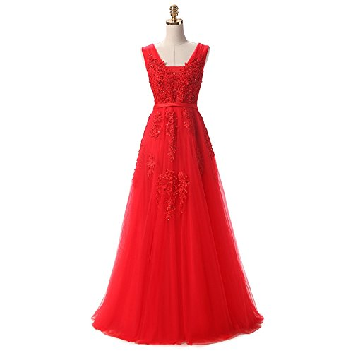 Nicefashion Women's Cheap Long Tulle Bridesmaid Dress Straps Beaded Evening Gown Red US6 ()