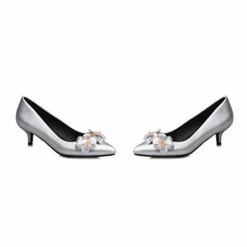 Latasa Womens Flowers Pointed-Toe Kitten Heels Silver nfqXKim