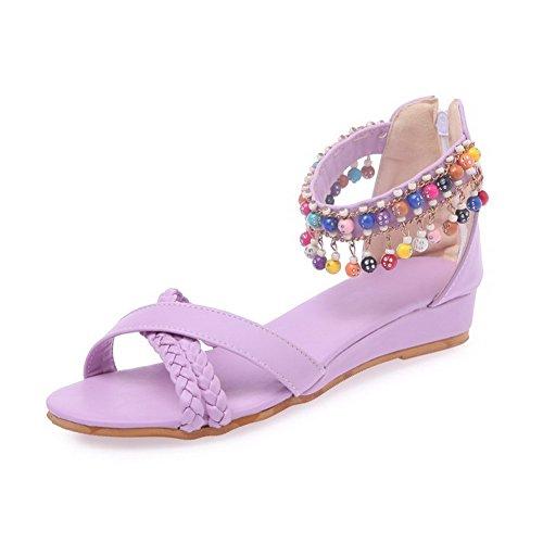VogueZone009 Women's Soft Material Zipper Open Toe Low-Heels Solid Wedges-Sandals Purple