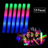 Fashionwu 15PCS LED Colorful Flashing Foam Glow Stick Sponge Pretty Light Stick for Party Concert Halloween Wedding Christmas