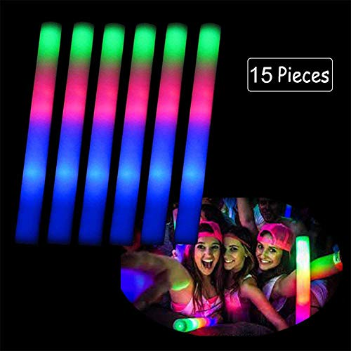 Ocamo 15PCS LED Colorful Flashing Foam Glow Stick Sponge Pretty Light Stick for Party Concert Halloween Wedding -