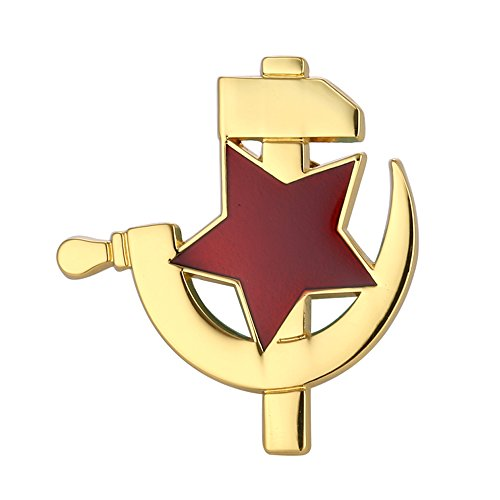 Gudeke CCCP Soviet USSR Red Star Hammer Sickle Lapel Pin Badge Gold