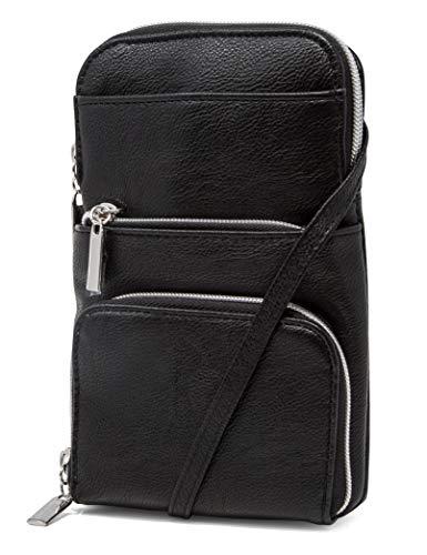 Mundi Miracle Womens Cell Phone Purse Wallet RFID Crossbody Bag (Black) ()