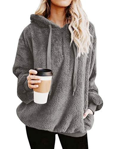 Sweatshirt Long Winter Zip Sleeve Outwear Warm Women Grey Front Fleece Fuzzy Nlife Pullover Hoodies qSTxtZwI