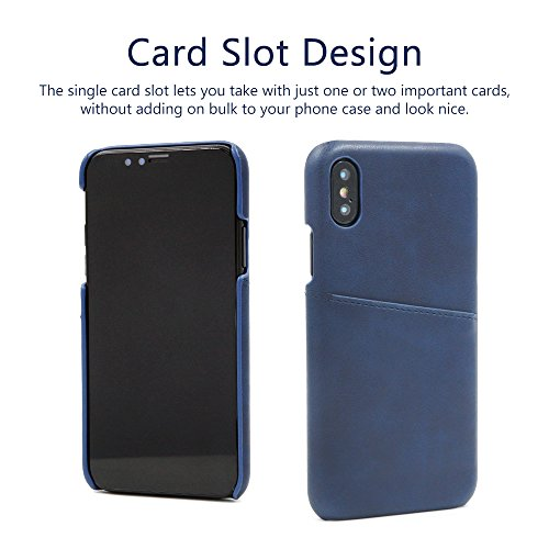 Buruis iPhone X Slim Card Case, Premium PU Leather Shockproof Wallet Case with Credit Card Slot Holder for Apple iPhone X (Blue) by Buruis (Image #2)
