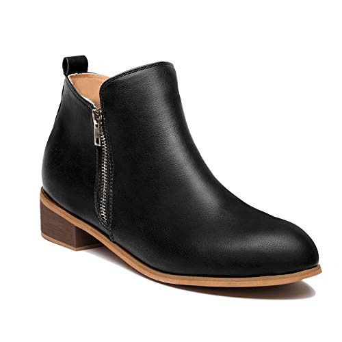 Faux Women's Full Stacked Grain Leather Boots Toe Suede Blivener Black Heel Western Ankle Round Bootie Ttq1H1wxga